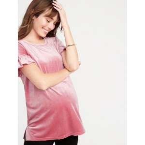 Maternity Glitter-Velvet Ruffle-Sleeve Top