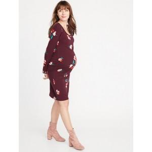 Maternity Scoop-Neck Bodycon Dress