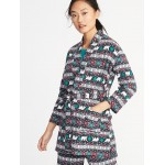 Printed Tie-Belt Micro Performance Fleece Robe for Women