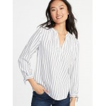 Relaxed Tie-Cuff Twill Top for Women