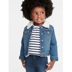 Sherpa-Lined Denim Trucker Jacket for Toddler Girls