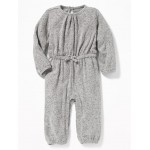 Waist-Defined Plush-Knit Long Romper for Baby