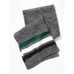 Patterned Sweater-Knit Scarf for Men