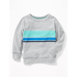 Chest-Stripe Raglan Crew-Neck Sweatshirt for Toddler Boys