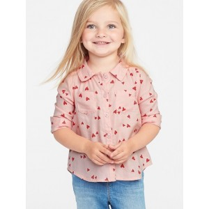 Heart-Print Lightweight Twill Shirt for Toddler Girls