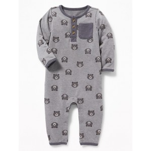 French-Terry Bear-Print Henley One-Piece for Baby