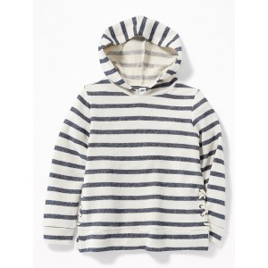 Striped French Terry Side-Lace Pullover Hoodie for Girls
