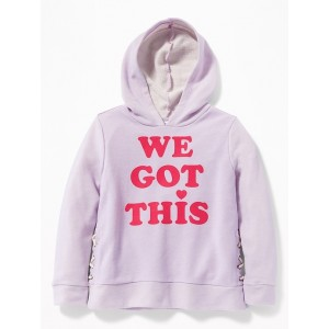 Graphic French Terry Side-Lace Pullover Hoodie for Girls
