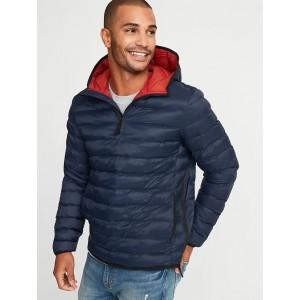 Water-Resistant Quilted 1/4-Zip Hooded Jacket for Men