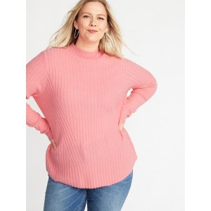 Directional Rib-Knit Plus-Size Mock-Neck Sweater