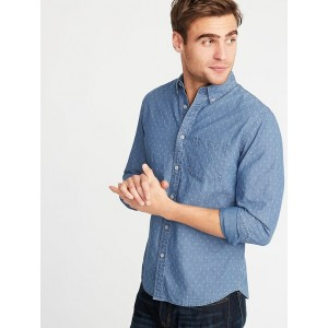 Slim-Fit Printed Dobby Shirt for Men