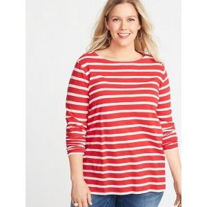 EveryWear Mariner-Stripe Plus-Size Boat-Neck Tee