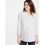 Maternity Tie-Cuff Striped Twill Tunic