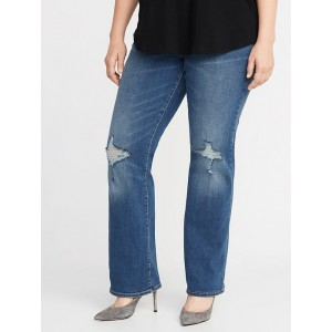 High-Rise Plus-Size Distressed Pull-On Boot-Cut Jeans