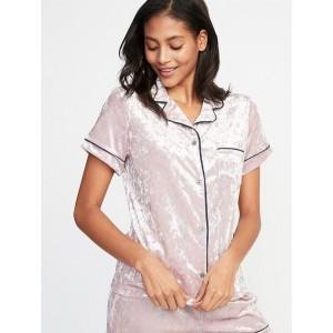 Velvet Button-Front Sleep Top for Women