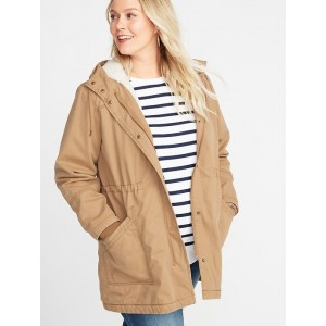 Twill Hooded Plus-Size Utility Parka