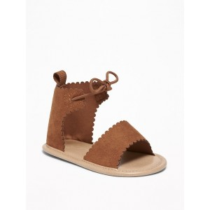 Faux-Suede Scalloped-Strap Sandals for Baby