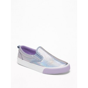 Holographic Faux-Leather Slip-Ons for Girls