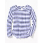 Soft-Spun Striped Pointelle Top for Girls