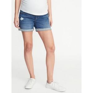 Maternity Full-Panel Distressed Denim Boyfriend Shorts - 5-inch inseam