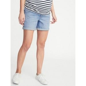 Maternity Front-Low Panel Distressed Boyfriend Jean Shorts - 5-Inch Inseam