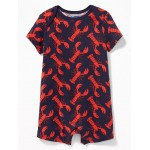 Printed Lap-Shoulder One-Piece for Baby
