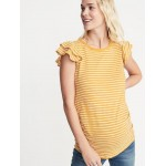 Maternity Slub-Knit Ruffle-Sleeve Top