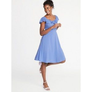Ruffled Sweetheart-Neck Fit & Flare Dress for Women
