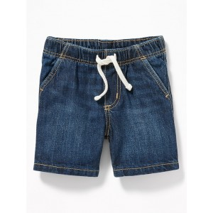 Dark-Wash Denim Pull-On Shorts for Baby