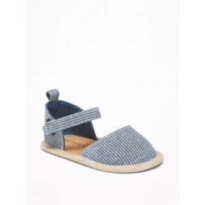 Chambray Railroad-Stripe Espadrilles for Baby