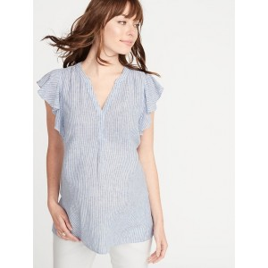 Maternity Ruffle-Sleeve Linen-Blend Top
