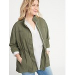 Soft-Washed Canvas Plus-Size Field Jacket