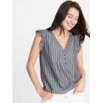 Striped Ruffle-Trim Blouse for Women