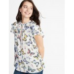 Butterfly-Print Ruffle-Trim Top for Women