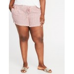 Mid-Rise Striped Plus-Size Linen-Blend Shorts - 5-inch inseam