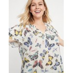 Butterfly-Print Tiered-Sleeve Plus-Size Blouse