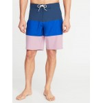 Built-In Flex Color-Blocked Board Shorts for Men - 10-inch inseam