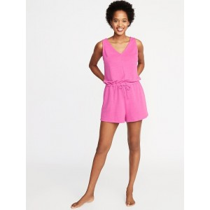 Waist-Defined French-Terry Romper for Women