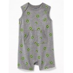 Sleeveless Kiwi-Print One-Piece for Baby