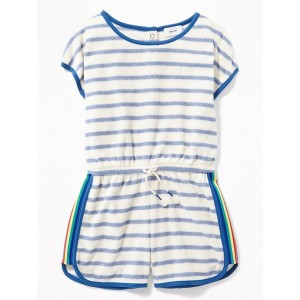 Loop-Terry Dolphin-Hem Romper for Girls
