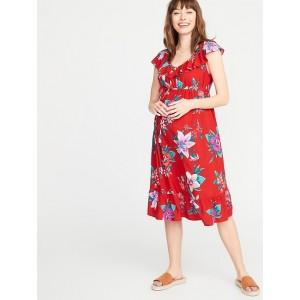 Maternity Ruffled Tie-Belt Waist-Defined Dress
