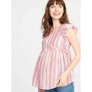 Maternity Ruffled Linen-Blend Wrap Top
