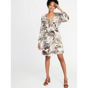 Waist-Defined Cross-Front Crepe Dress for Women