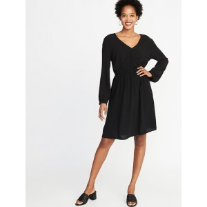 Waist-Defined Faux-Wrap Crepe Dress for Women