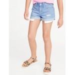 Exposed-Pocket Distressed Denim Shorts for Girls