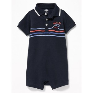 Graphic Pique Polo One-Piece for Baby
