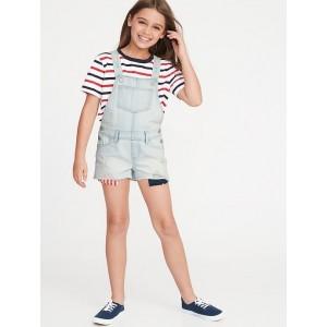 Americana Distressed Denim Shortalls for Girls