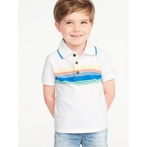 Built-In Flex Chest-Stripe Pique Polo for Toddler Boys