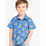 Built-In Flex Shark-Print Shirt for Toddler Boys
