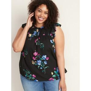 Floral-Print Smocked-Yoke Plus-Size Swing Top